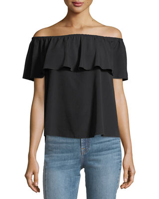 Off-the-Shoulder Ruffled Crepe Top