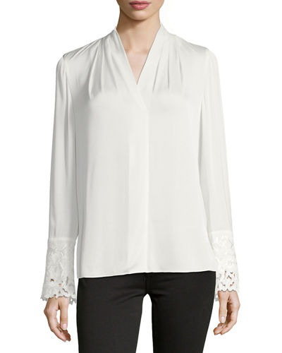 Maura Pleated Long-Sleeve Stretch-Silk Blouse