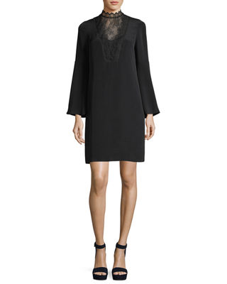 Image 1 of 2: Starla Long Bell-Sleeve Lace-Trimmed Silk Dress