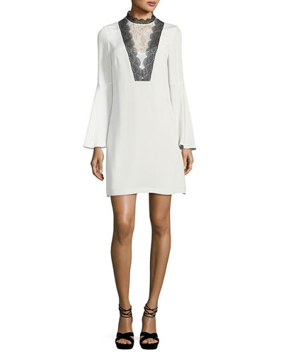 Starla Long Bell-Sleeve Lace-Trimmed Silk Dress