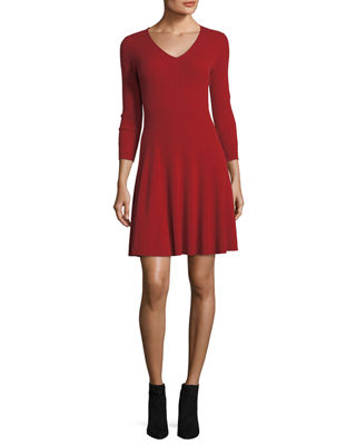 Ribbed Fit-&-Flare Cashmere Sweaterdress Neiman Marcus