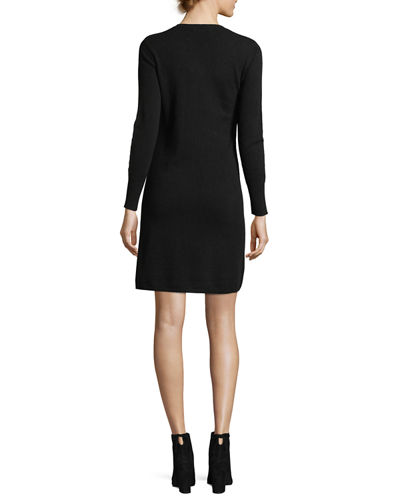 Long-Sleeve Crewneck Cashmere Dress, Plus Size