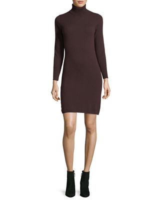 Long-Sleeve Turtleneck Cashmere Dress, Plus Size