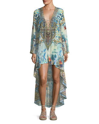 Camilla High-Low Silk Coverup Dress