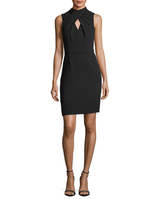 Image 1 of 5: Crossover Mock-Neck Sleeveless Dress w/ Keyhole
