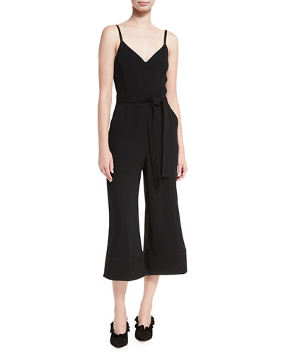 Sleeveless V-Neck Culotte Jumpsuit