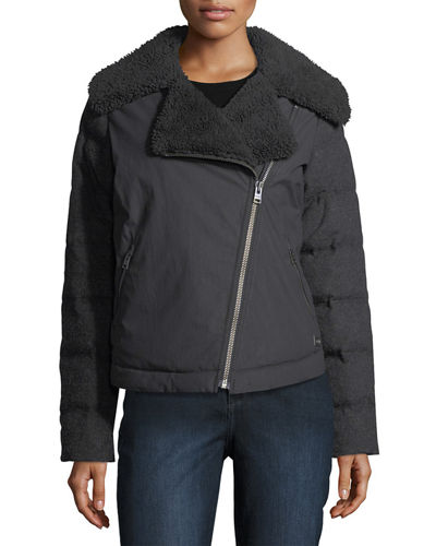 Tivoli Zip-Front Motorcycle Down Jacket w/ Faux Shearling