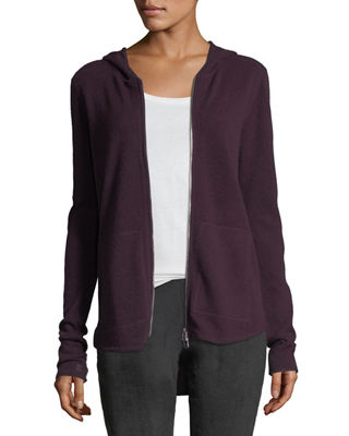 Cashmere-Blend Zip Front Hooded Jacket