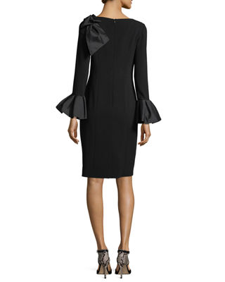 Image 3 of 3: Bell-Sleeve Crepe Sheath Dress