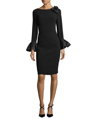 Image 1 of 3: Bell-Sleeve Crepe Sheath Dress