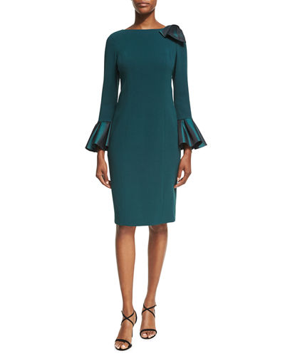 Bell-Sleeve Crepe Sheath Dress