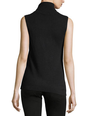 Sleeveless Cashmere Turtleneck