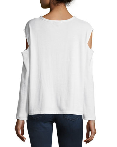 Crewneck Slash-Shoulders Long-Sleeve Tee