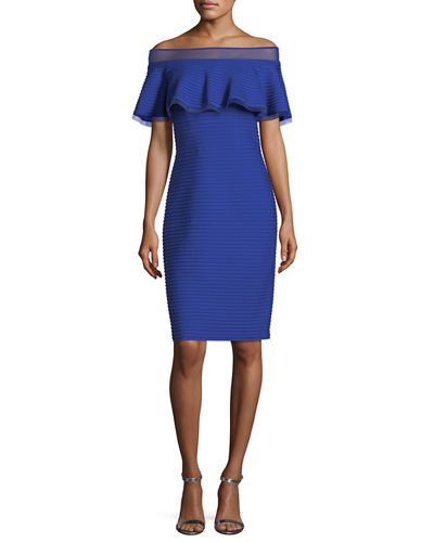 Tadashi Shoji Off-the-Shoulder Pintucked Ponte Cocktail Dress