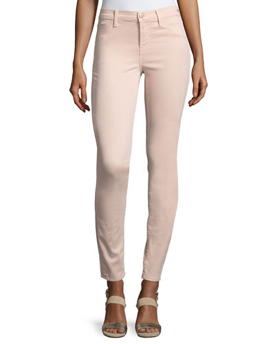 J Brand 485 Luxe Sateen Mid-Rise Skinny Pants