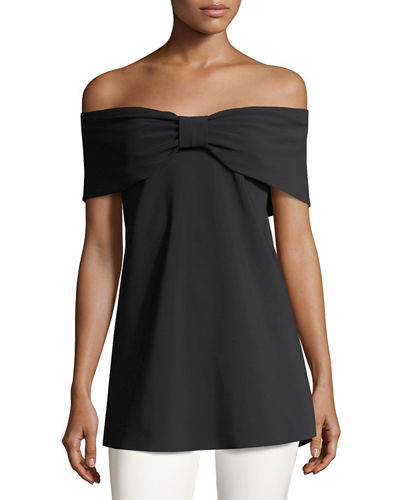 Chiara Boni La Petite Robe Anneflor Off-the-Shoulder Bow-Front