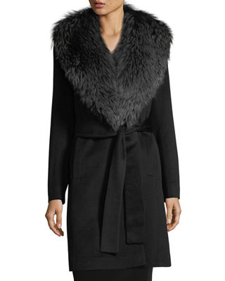 Fleurette Studio Wrap Coat with Fox Collar