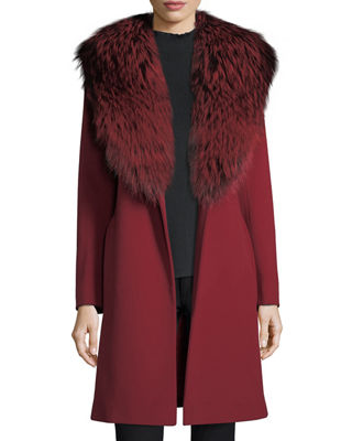 Image 5 of 5: Wrap Coat with Silver Fox Collar