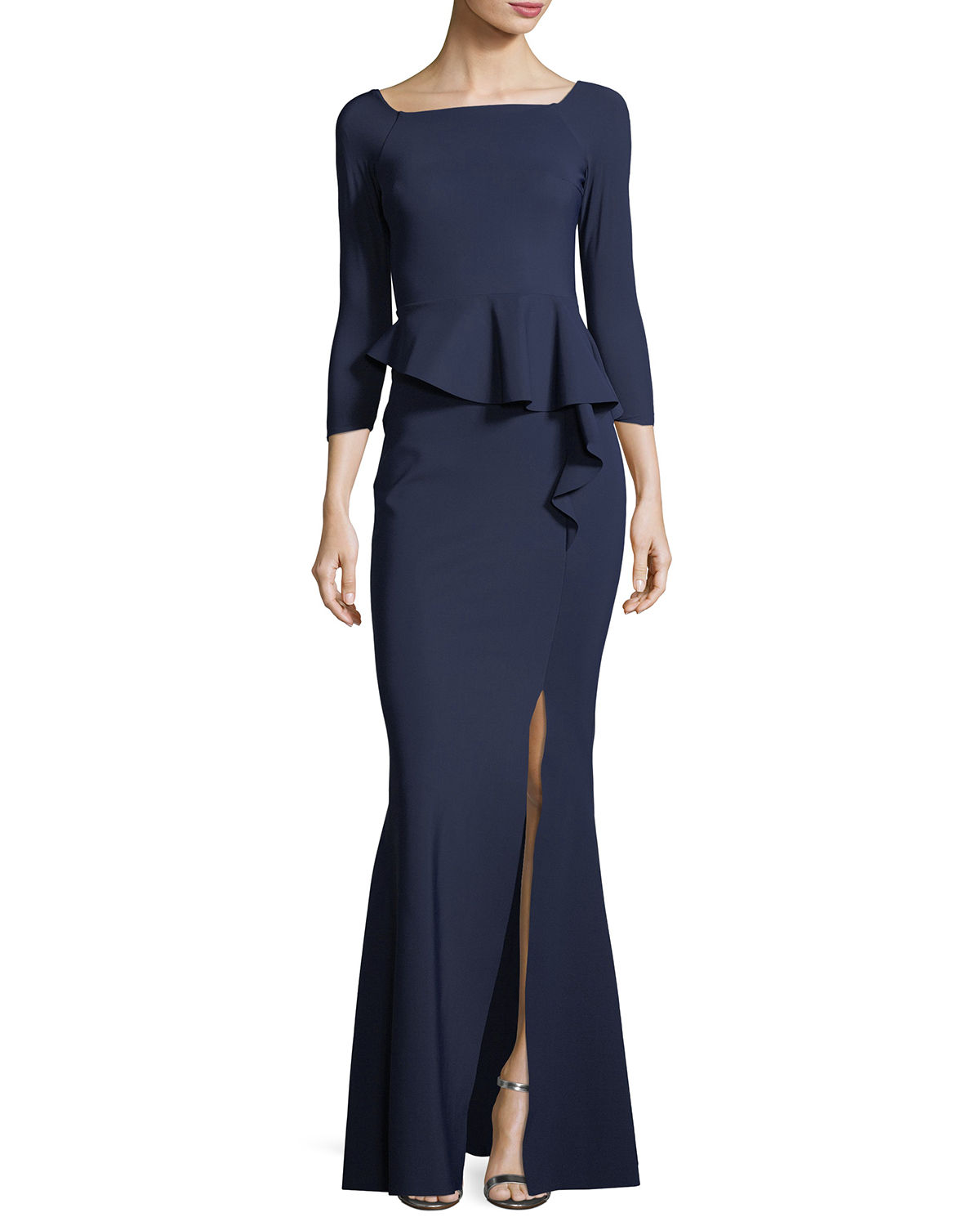 Adela Off-the-Shoulder Asymmetric Peplum Evening Gown