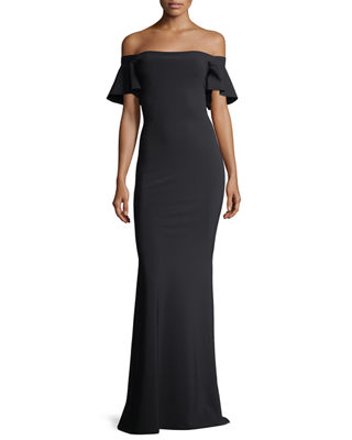 Anselma Cap-Sleeve Off-the-Shoulder Evening Gown