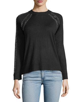 Free Generation Lattice Studded Long-Sleeve Sweater