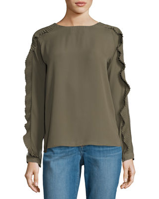 Free Generation Pleated Ruffle Long-Sleeve Blouse