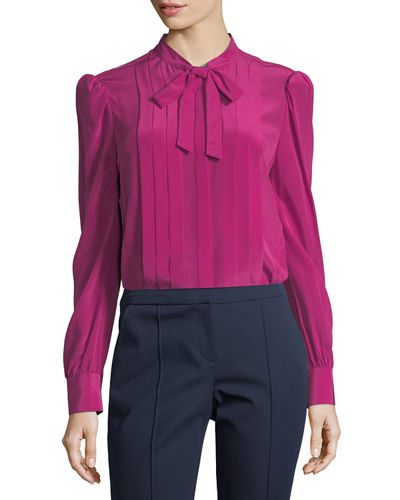 Trina Turk Bow-Tie Pleated Long-Sleeve Silk Blouse and