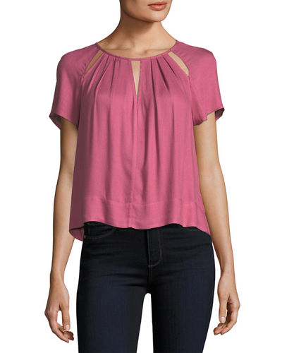 Stella Round-Neck Cutout Swing Top