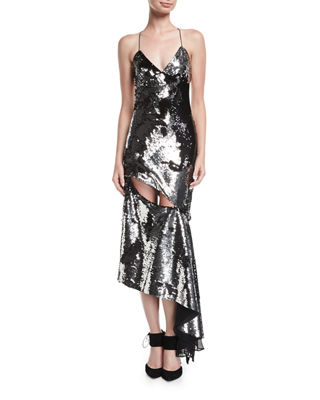 Image 1 of 3: Fractured Sequin Sleeveless Bias-Cut Cocktail Slip Dress
