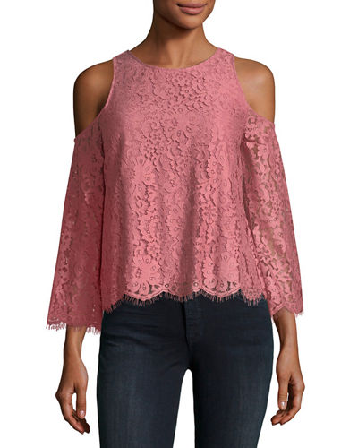 Joie Abay Lace Cold-Shoulder Top
