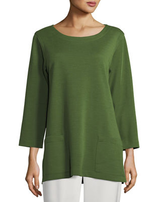 3/4-Sleeve Front-Pocket Tunic, Plus Size