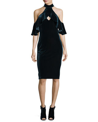 Black Halo Lambert Velvet Cold-Shoulder Cocktail Dress