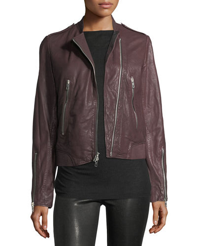 Lyon Washed Leather Moto Jacket