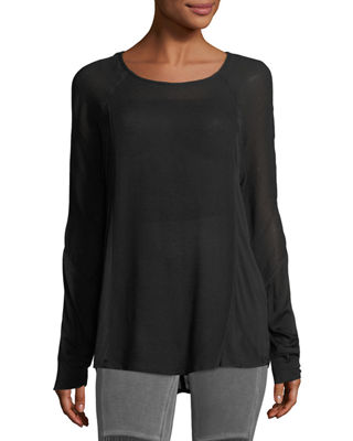 Long-Sleeve Crepe Blouse, Plus Size