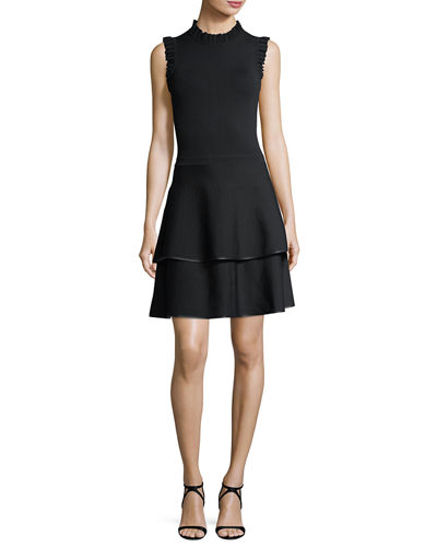 Parker Ryker Mock-Neck Sleeveless Fit-and-Flare Knit Dress