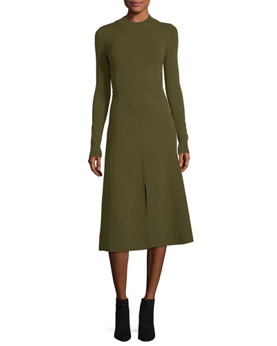 Veronica Beard Beau Crewneck Long-Sleeves Paneled A-Line Midi