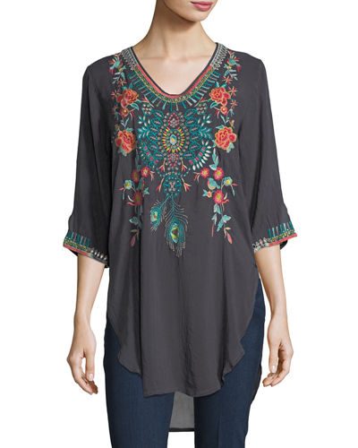 Johnny Was Zivelli Embroidered Georgette Long Tunic, Plus