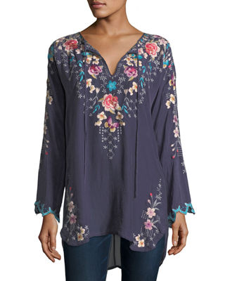 Johnny Was Butterfly Winter Embroidered Blouse