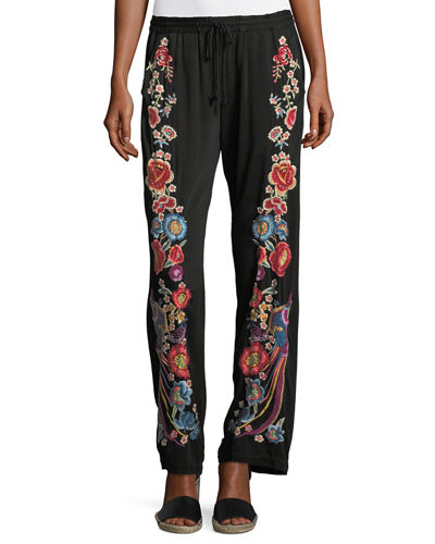 Johnny Was Briyah Floral Embroidered Pants, Plus Size