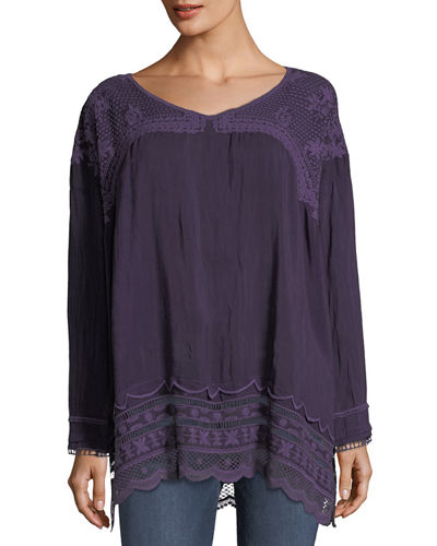 Rose Embroidered Georgette Tunic