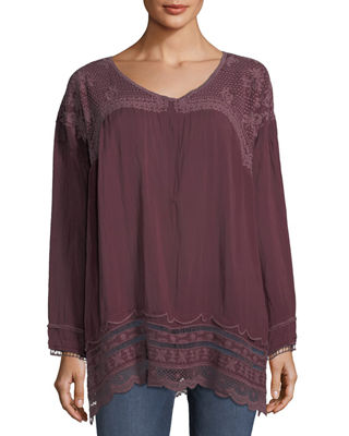 Johnny Was Rose Embroidered Georgette Tunic