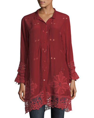 Johnny Was Wynne Scalloped Long Tunic, Plus Size