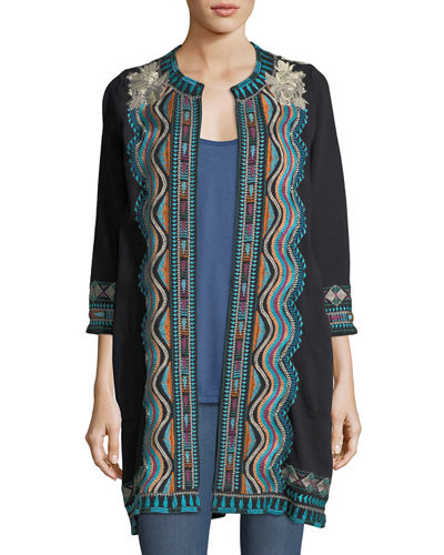 Yucatan Everyday French Terry Embroidered Coat, Plus Size