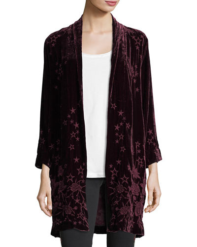 Johnny Was Roberta Star-Floral Velvet Coat
