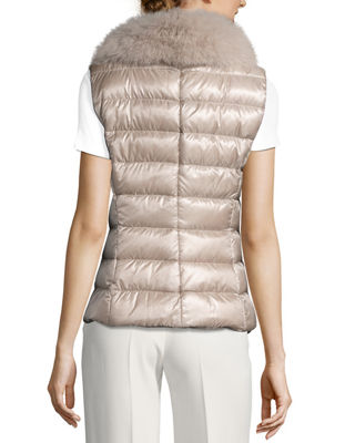 Image 3 of 6: Quilted Puffer Vest w/ Fur Collar