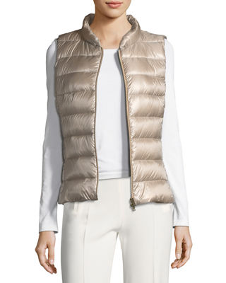 Image 4 of 6: Quilted Puffer Vest w/ Fur Collar
