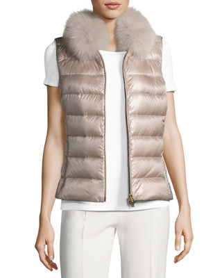Image 1 of 6: Quilted Puffer Vest w/ Fur Collar