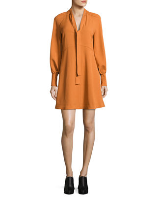 Tie-Neck Long-Sleeves A-Line Dress
