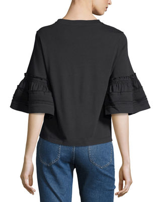 Crewneck Bell-Sleeve Cotton Top