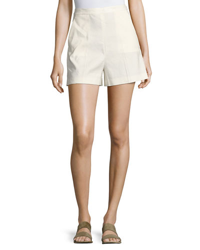 Theory Tarrytown Stretch-Linen High-Waist Shorts